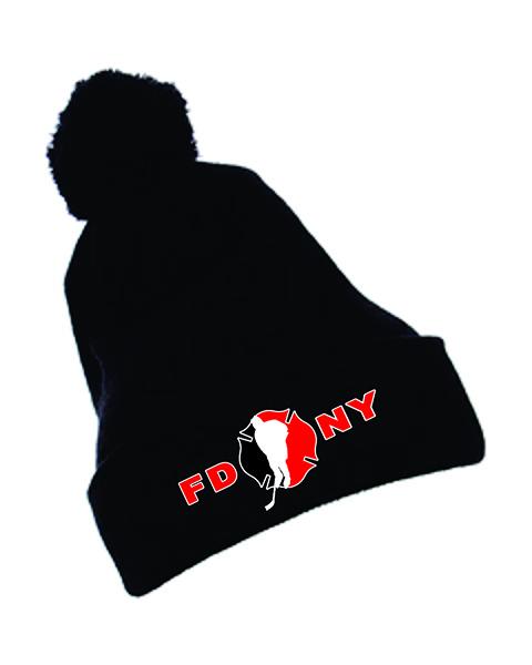 Winter Hat - Black with Pom Pom - FDNY Logo in Red