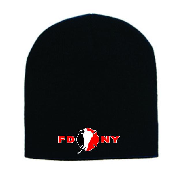 Winter Skull Hat - Black - FDNY Logo in Red