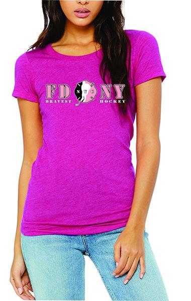 FDNY Hockey NYC Logo Ladies Short Sleeve T-Shirt - Pink
