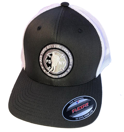 Hockey CHARCOAL GRAY with White Mesh Back Flexfit Trucker Hat