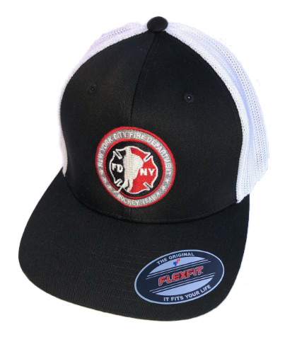 Hockey BLACK with White Mesh Back Flexfit Trucker Hat