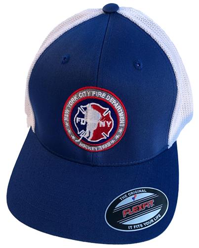 Hockey ROYAL BLUE with White Mesh Back Flexfit Trucker Hat