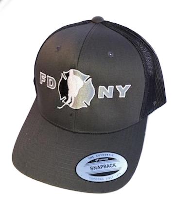 Hockey Solid Charcoal Gray SnapBack Hat - FDNY Logo