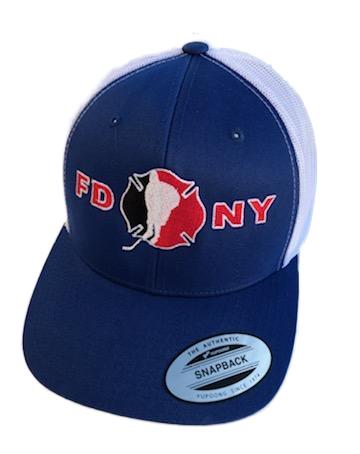 Hockey Royal with white mesh back SnapBack Hat - FDNY Logo