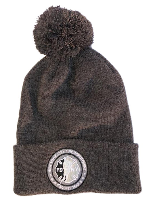Winter Hat - Gray with Pom Pom - Circle Logo in Gray