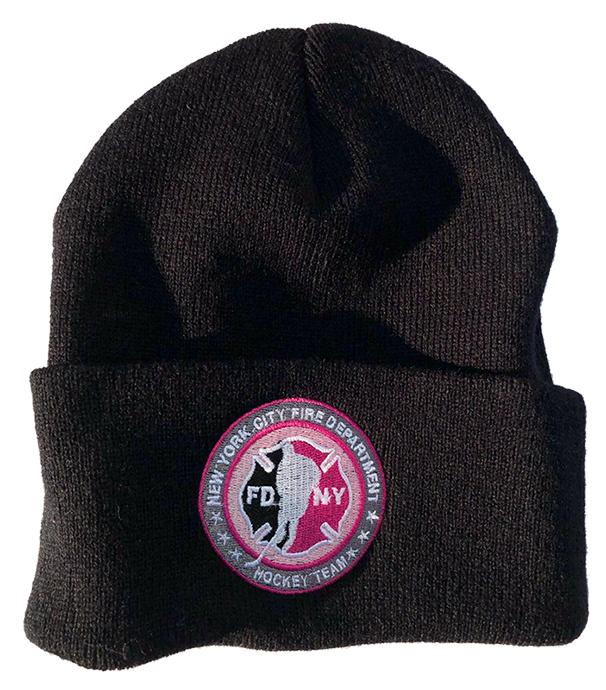 Winter Hat - Black - Circle Logo Pink